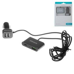 Автомобільний зарядний пристрій Nillkin NKC05, USB тип C PD вихід 5В 3А , USB вихід 3.6V 6.5V 3A 6.5V 9V 2A 9V 12V 1,5A , 2 USB виходи 5В 2,4А , чорне, Quick Charge