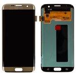 Pantalla LCD para celulares Samsung G935F Galaxy S7 EDGE, G935FD Galaxy S7 EDGE Duos, dorado, con cristal táctil, original (vidrio reemplazado)