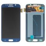 Дисплей для мобильных телефонов Samsung G920F Galaxy S6, G920FD Galaxy S6 Duos, синий, с сенсорным экраном, оригинал (переклеено стекло)